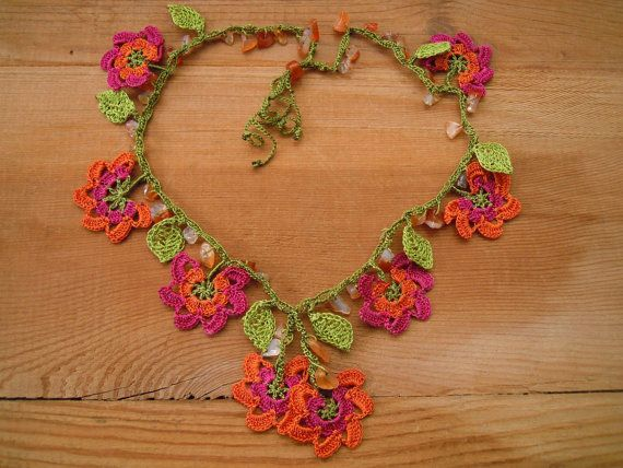 crochet necklace orange pink flower green leaves by PashaBodrum, $25.00