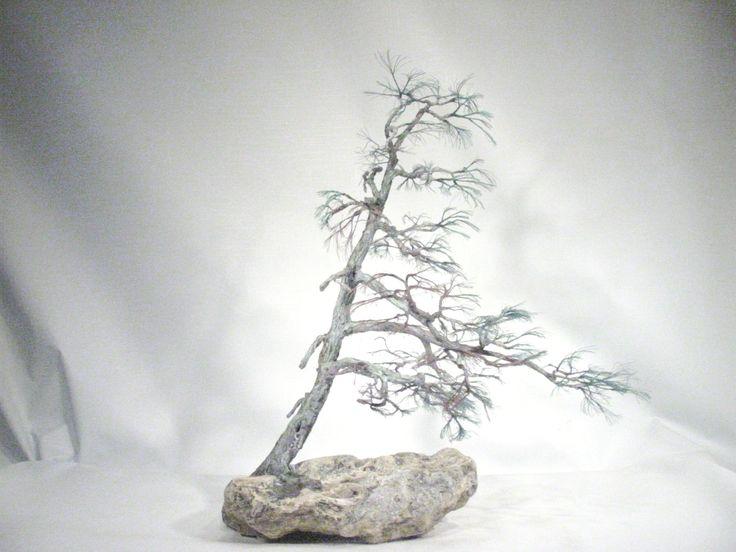 Copper wire tree - Bonsai style - Natural rock - recycled material - Wabi sabi - Shakan