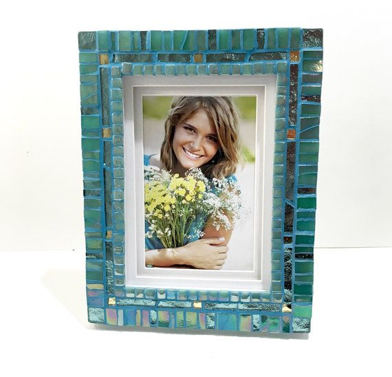 Beach Decor Frame Aqua Teal Picture Frame Mosaic by HamptonMosaics