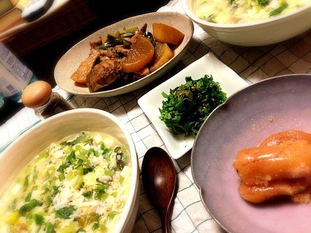 魚の季節(!?) - 74件のもぐもぐ - 黒ソイ鍋の雑炊、カブの葉塩もみ、イナダ大根煮込み、たらこ by avee