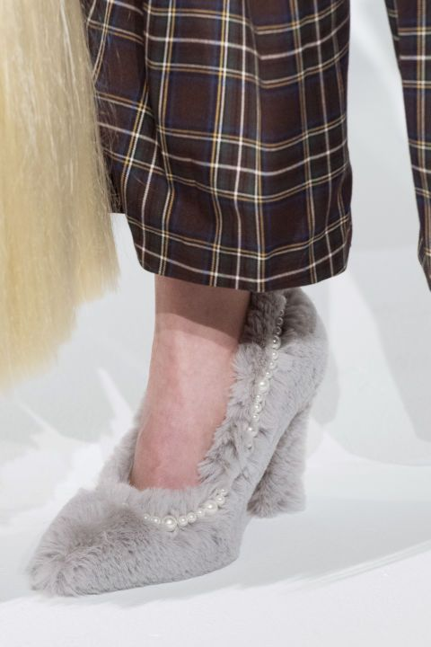 Fur and pearls shoes