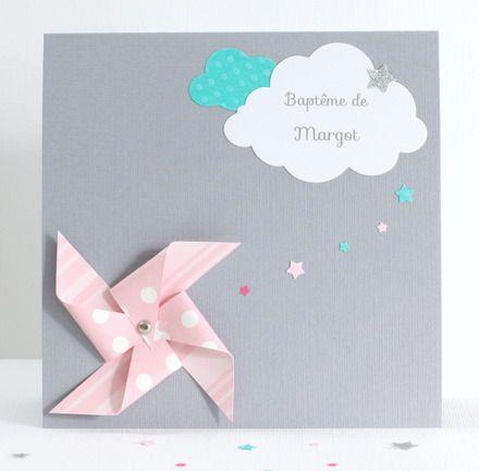Annonce réservée pour Clémence :   - 20 faire-part moulin à vent et nuages dans les tons gris, rose et turquoise pour le baptême de Margot.  Inclus : - Un lot de 20 envel - 17846013