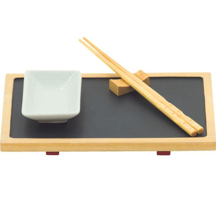 kit conjunto p/ sushi individual 4 pçs retangular tramontina