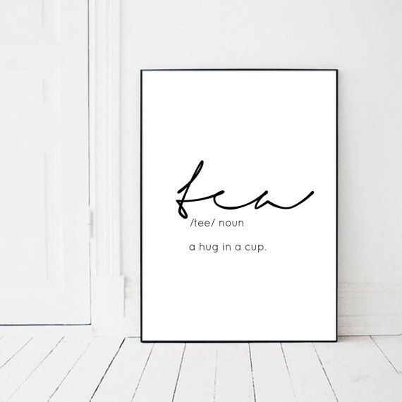 Tea Quote Print Poster Printable Tea Cup by PrintsMiuusStudio