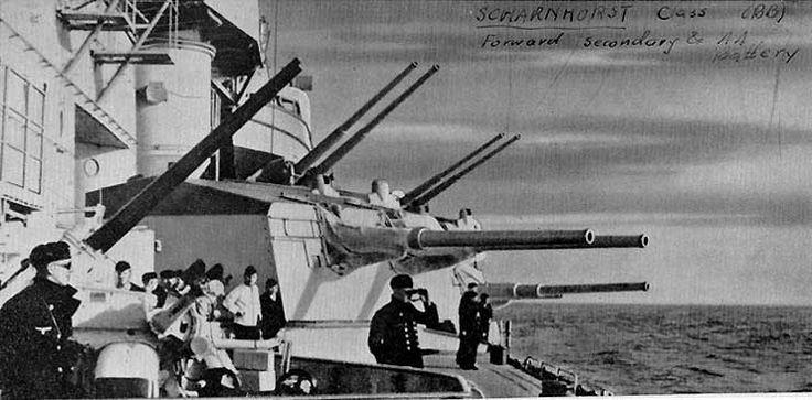 Scharnhorst's 105mm and 150mm twin gun turrets