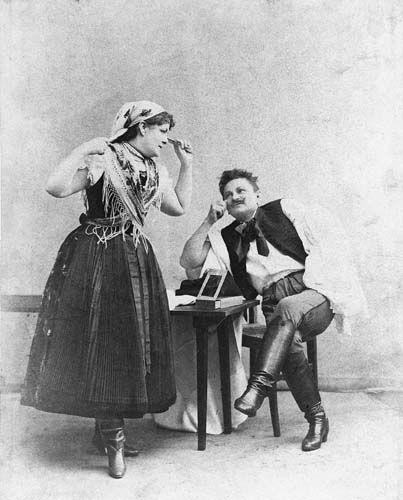 Vidor Pál: A veres sapka. Népszínház, 1882. Blaha Lujza (Jucika), Vidor Pál (Széll Matyi)