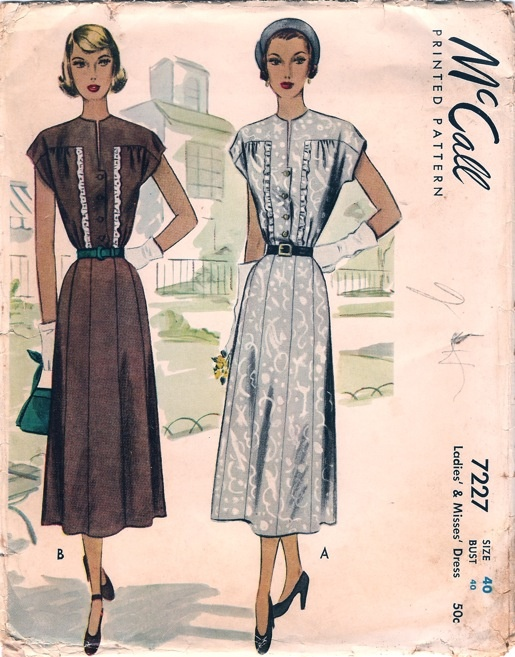 1940s McCall Ruffle Trimmed Dress Sewing Pattern Bust 40Sewing Pattern