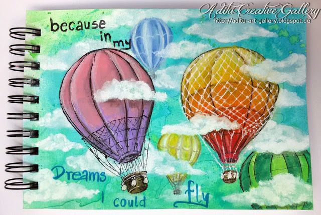 Baloons :) Media : liquid and crayon Aquarelle, Acrilic paint,