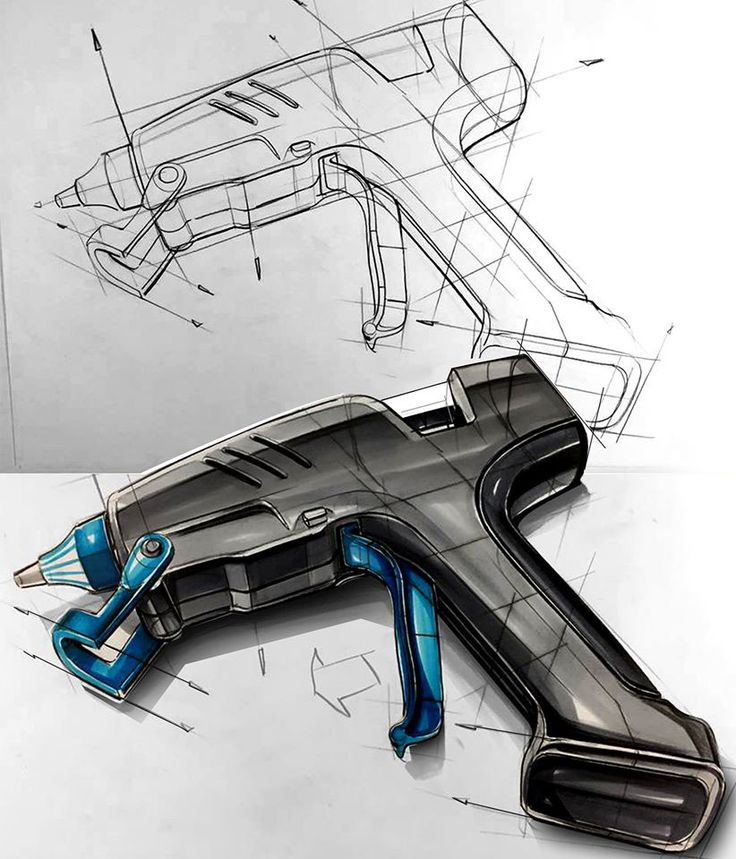 Industrail Design Sketch & Marker Rendering Tutorial on Behance Dibujo industrial pistola de silicón