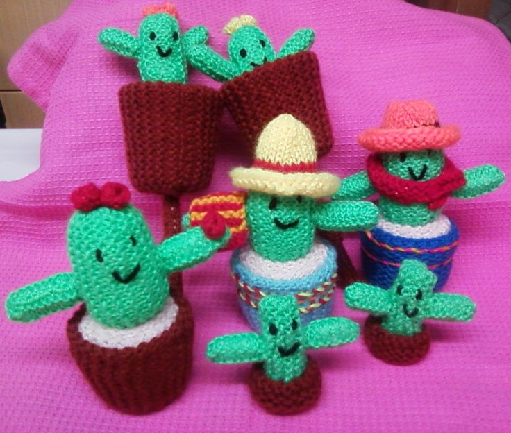 Knitting Pattern For Welsh Doll : Cacti family Things Ive knitted Pinterest Cactus ...