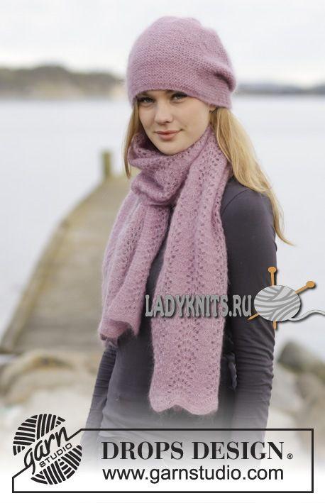 вязаная спицами шапка и шарф