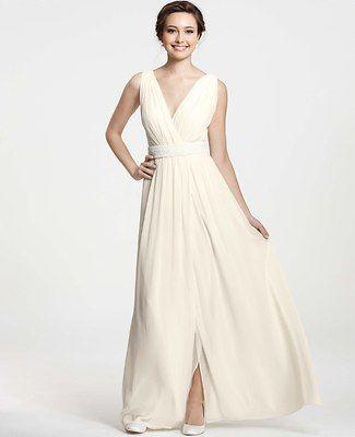 Goddess V-Neck Wedding Dress Ann Taylor