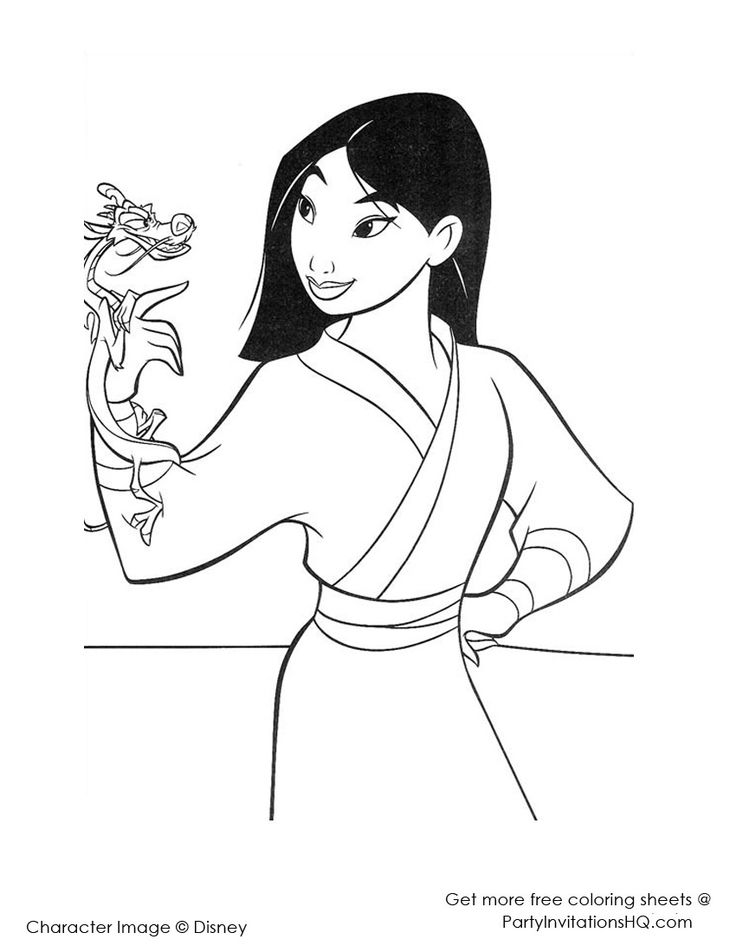 Beautiful Fa Mulan Coloring Page Print Out And Color This Decorate Your Room With Lovely Pages From