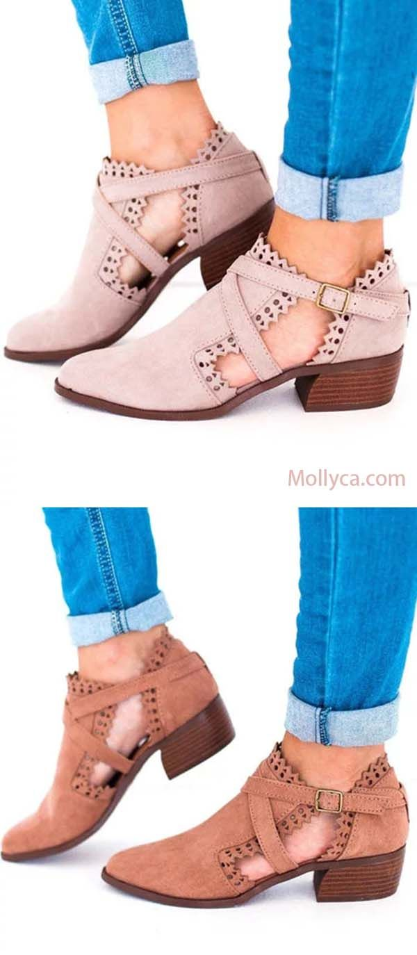 c37003b6afa3 Buy 2 Got 5% OFF Code  mollyca Scalloped Booties Low Heel Hollow-out Buckle  Strap Boots