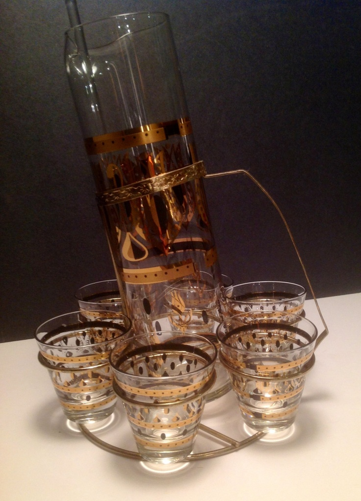Fred Press Glassware | Vintage Fred Press cocktail set by DecorAdorations on Etsy