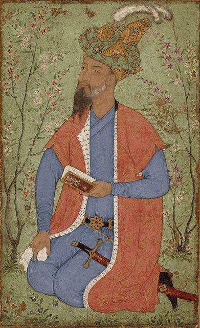prince mirza hindal in a garden 1600.