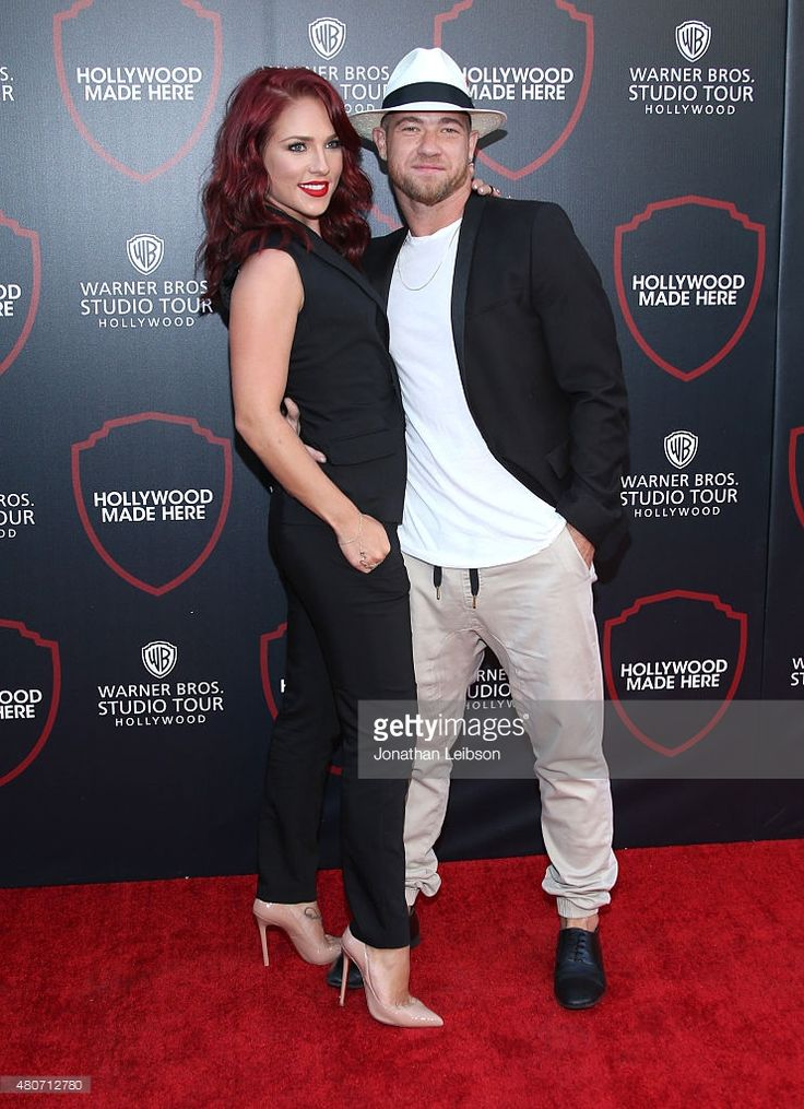 Dancers Paul Kirkland (L) and Sharna Burgess attend the Warner Bros. Studio Tour Hollywood Expansion Official Unveiling, Stage 48: Script To Screen at Warner Bros. Studios on July 14, 2015 in Los Angeles, California.