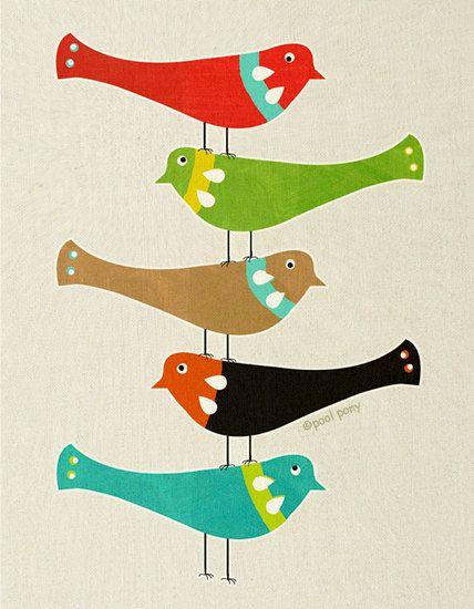 Bird Stack mid century design fine art print A4 by poolponydesign, $35.00