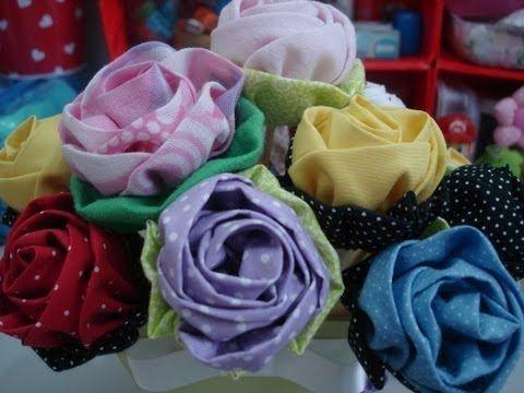 Rosa de tecido - Artesanato / passo a passo / tutorial / diy - YouTube