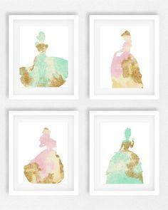 Disney, Prinzessin, Kindergarten, Set 4, Mädchen Zimmer, Prinzessin Bild, Disney-Thema, Baby-Dusche, Geschenk für Tochter, personalisiert, Wandkunst