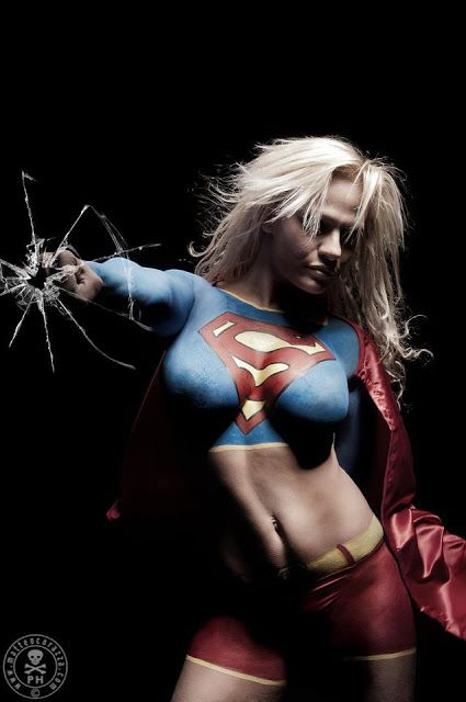 body painting super girl