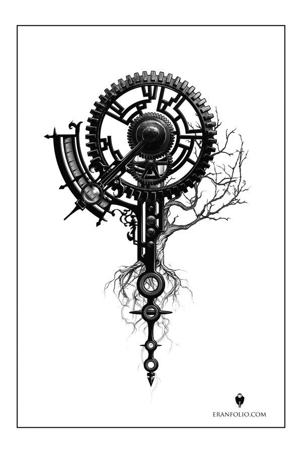 Clock over tree of life -tattoo design