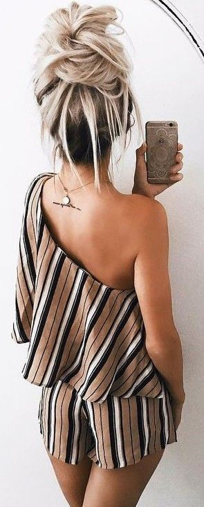 #summer #girly #outfits |  Stripe One Shoulder Playsuit