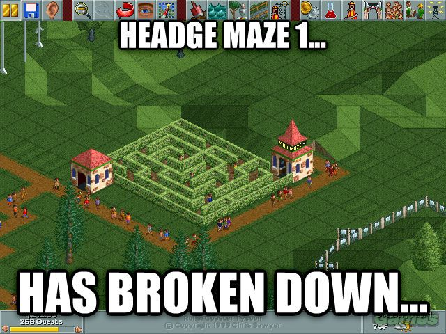 Roller coaster Tycoon - How does a maze of hedges stop working??? Sometimes I wonder if everything was thought through here.