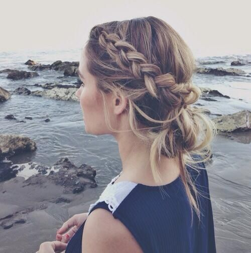 Casual braid into bun easy and cute for the beach!