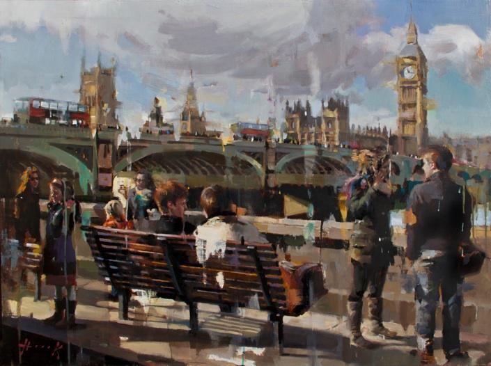 Westminster Bridge - Christian Hook -  oil on wooden panel  -  2014