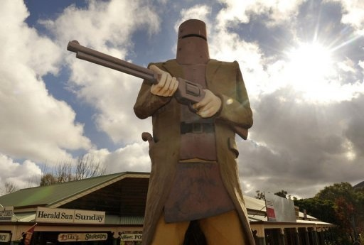 Ned Kelly is seen as a folk hero and symbol of Irish-Australian defiance against the British authorities
