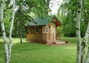 Wildflower Tiny House SummerTiny Logs Cabin, Tree Houses, Tiny Houses, Green Cabin, Wildflowers Tiny, Trees House, Tiny Green, House Artsey, Tiny Cabins