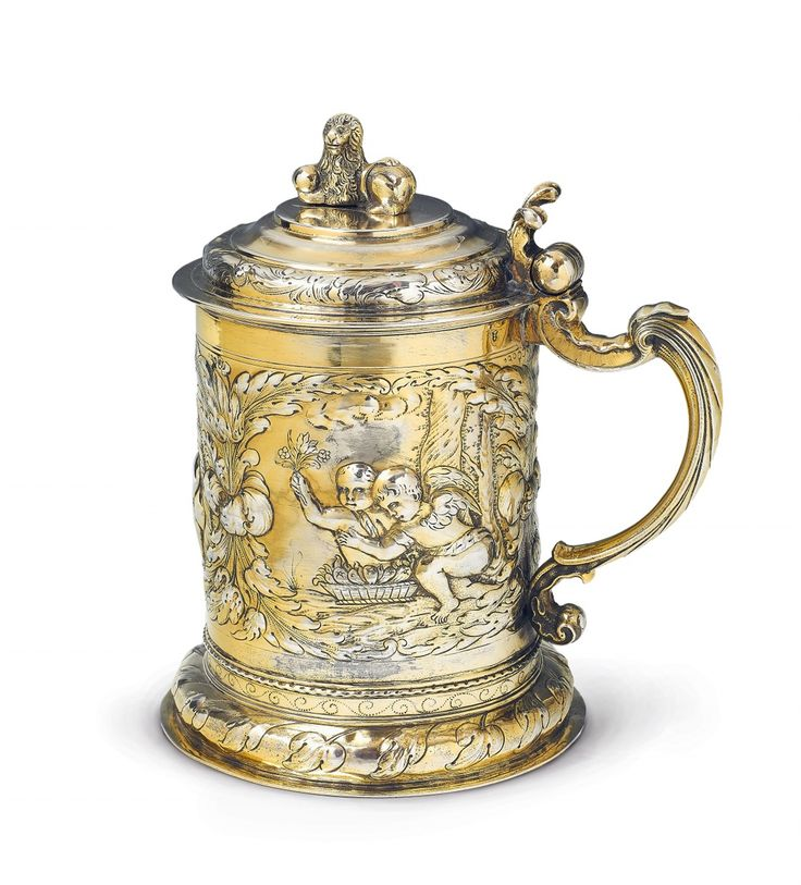 Conrad Jakob Keseberg, Marks of Conrad Jakob Keseberg, ca. 1680.A Gdansk silver gilt tankard and cover, Auction 1066 Decorative Arts, Lot 1015 #lempertz #silver #artdeco #art #artauction #cologne
