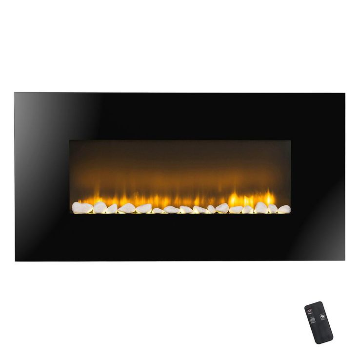 37 in. Wall Mount Electric Fireplace Heater in Black with Flat Tempered Glass, Logs and Remote Control