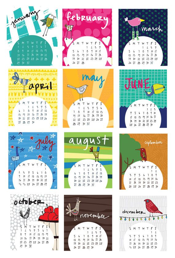This beautiful 2017 desk calendar features 12 colorful bird and pattern…
