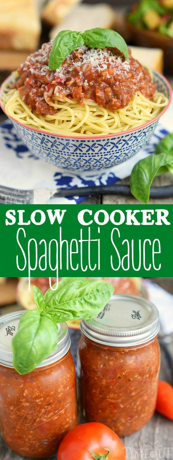 This Slow Cooker Spaghetti Sauce is the perfect dinner solution for busy weeknights! Made with garden fresh tomatoes, you can taste the freshness in every bite. Make it with or without meat - your choice! | MomOnTimeout.com  | #NeedToFeed #ad