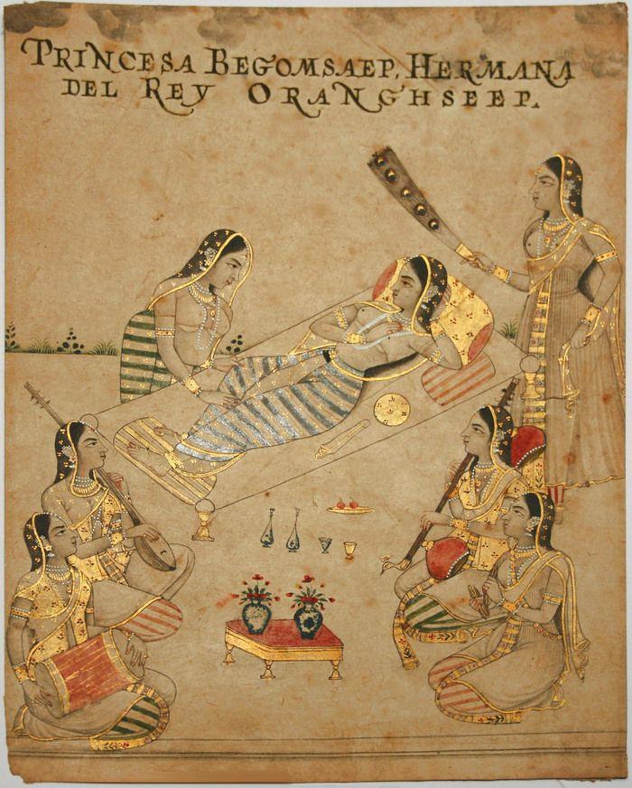Mughal Princess Zebunissa (1638-1702) listens to music on the ...