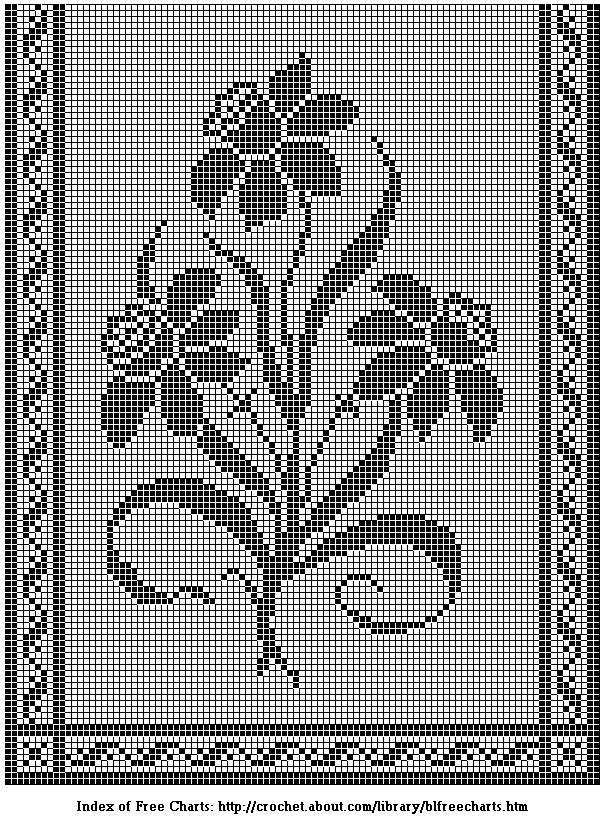 Daffodils Table Runner or Door Panel Filet Chart