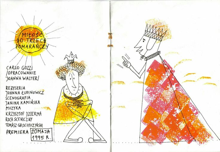 """My illustration to a folder to """"The Love for Three Oranges"""" played by the puppets theatre Guliwer in Warsaw. Folder design: INOMIG artistic cooperative."""