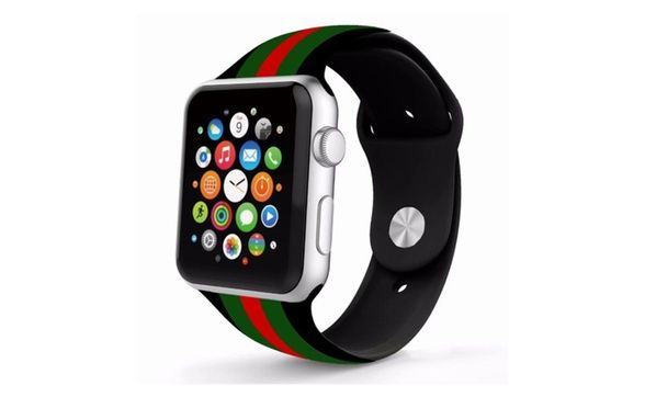 Silicone Gucci Pattern Replacement Band For Apple Watch 42mm