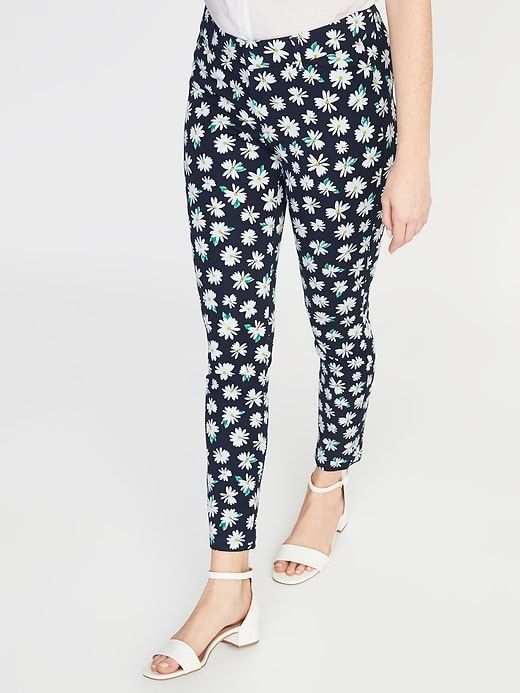 aa3b5510f Old Navy Women's Mid-Rise Printed Pixie Ankle Pants Navy Daisy Size 10