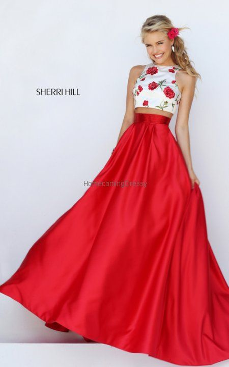 A Line Sherri Hill 50232 Ivory Homecoming Dress Two Piece