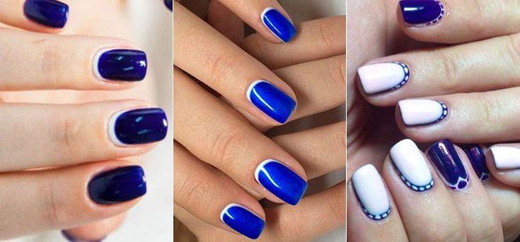 Обратный французский маникюр синего цвета
