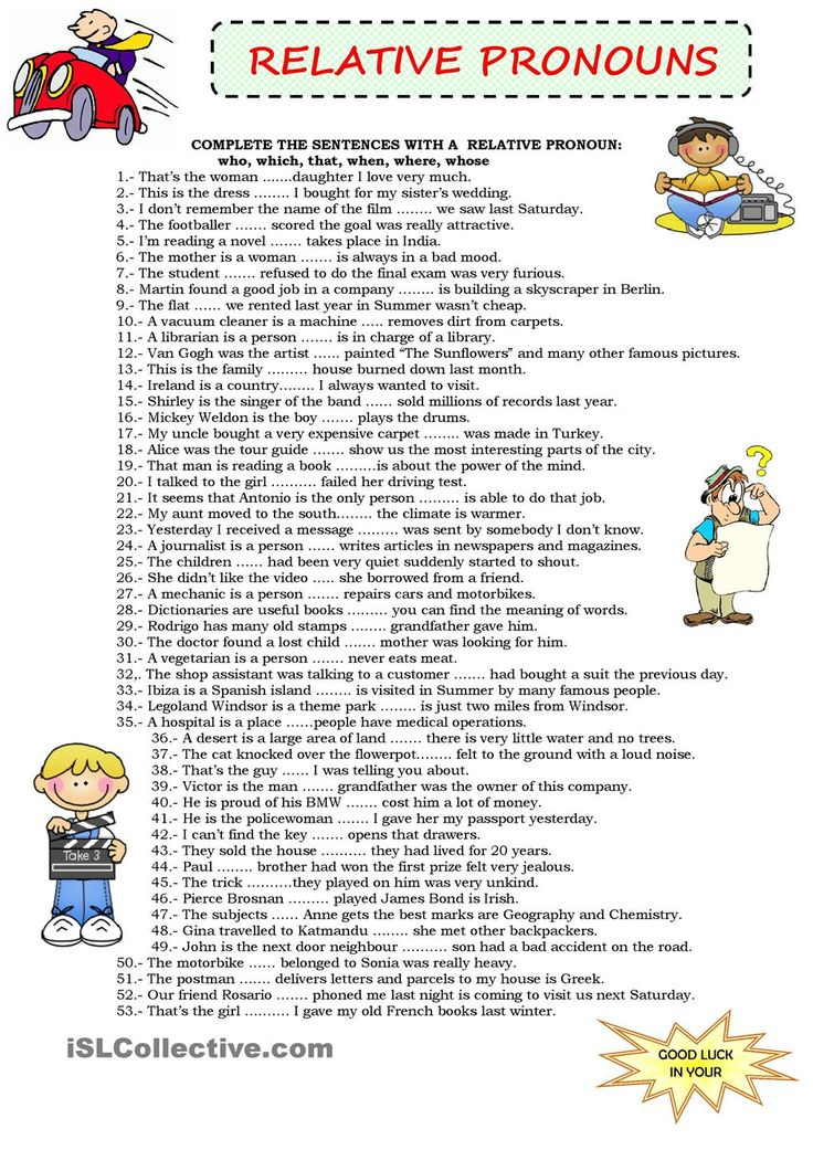 English Exercises: Relative pronouns and relative clauses