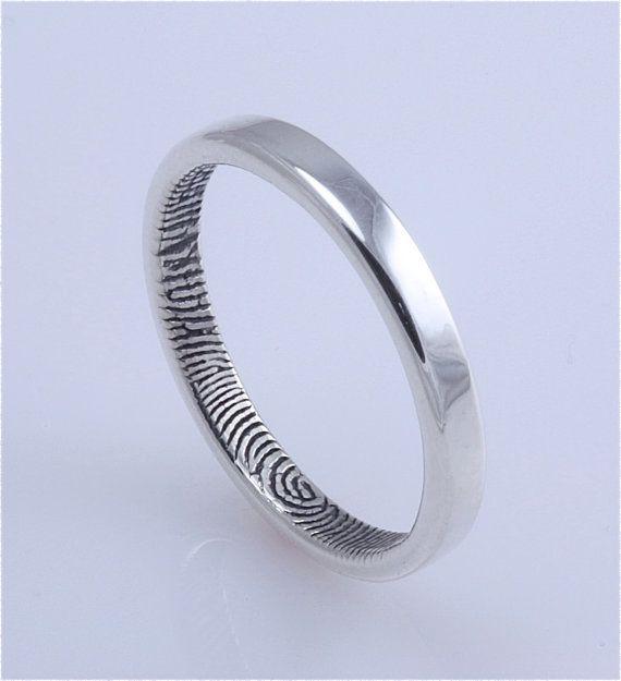 2.5 mm Custom narrow traditional fingerprint ring, sterling silver, Brent & Jess Fingerprint Wedding Rings