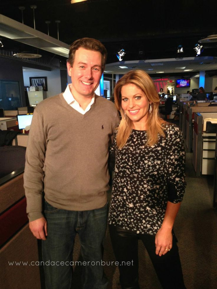 Inside Edition with Paul Boyd. Top: Rebecca Minkoff. Jeans: JBrand Jeans  candace cameron bure