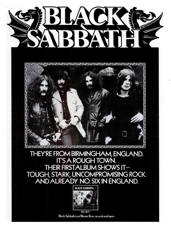 Black Sabbath ad for first album
