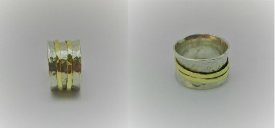 anillo plata 950, bronce