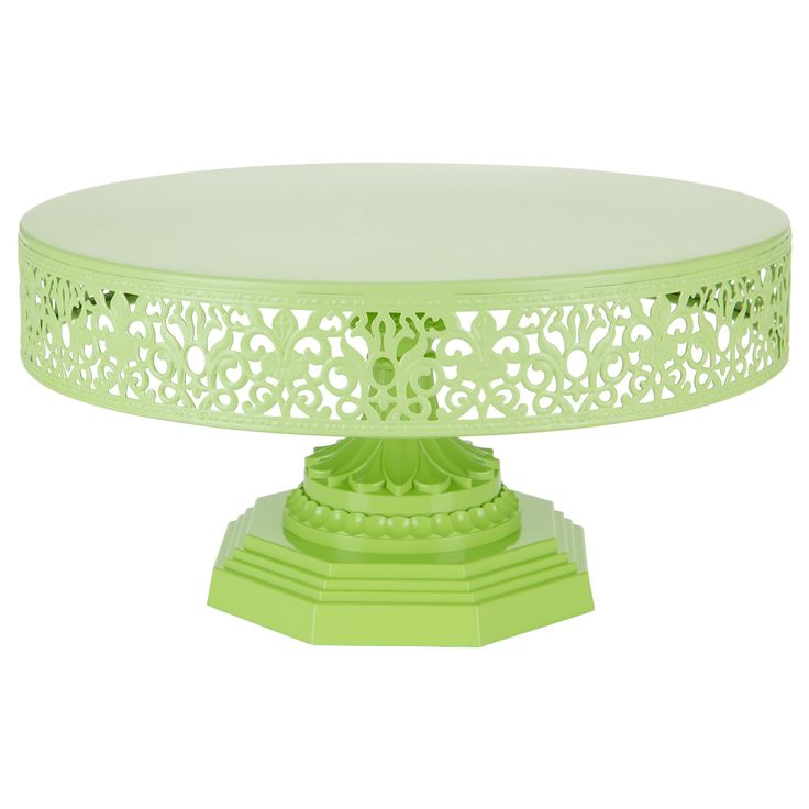 12 Inch Round Metal Wedding Cake Stand (Lime Green)