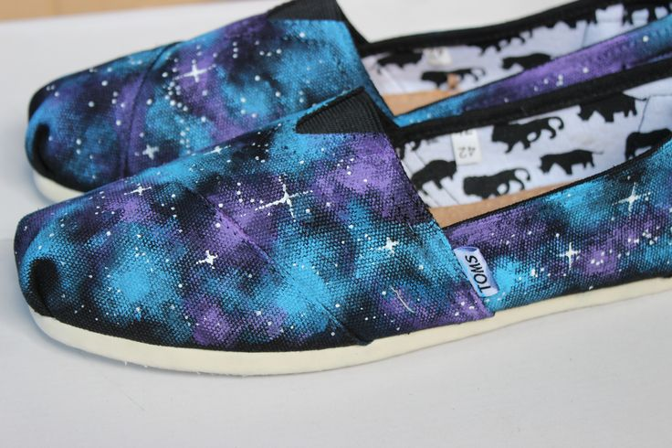 Galaxy TOMS Custom TOMS Hand Painted Blue and Purple Galaxy TOMS